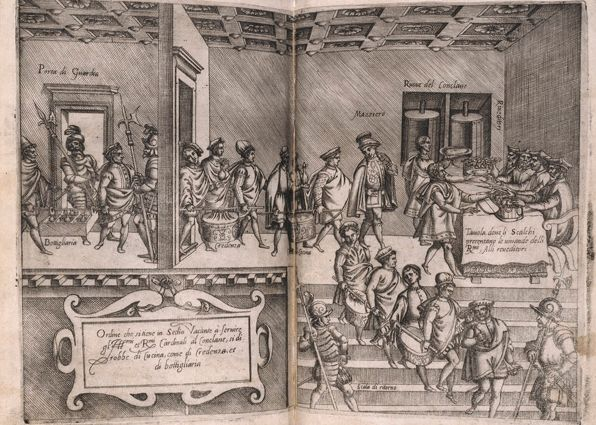 Bartolomeo Scappi L'Opera, the first depiction of a food preparation for a papal conclave