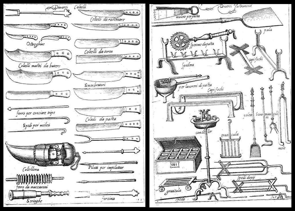 L'Opera di Bartolomeo Scappi knife and kitchen implements illustration